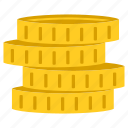 coins, golden, money, stack icon