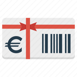 card, euro, gift, present, shopping, voucher icon