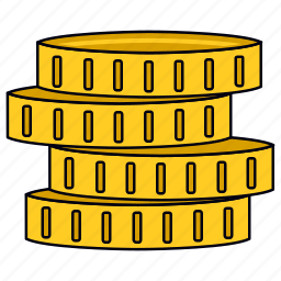 coin stack, currency, gold coin, golden coin, money, saving icon