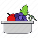 basket, container, fruits, grapes