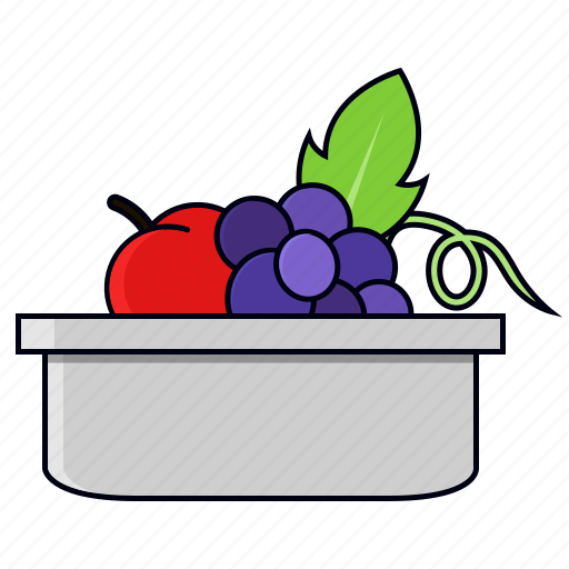 basket, container, fruits, grapes icon