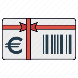 euro, gift, gift voucher, present, shopping, shopping card, voucher icon