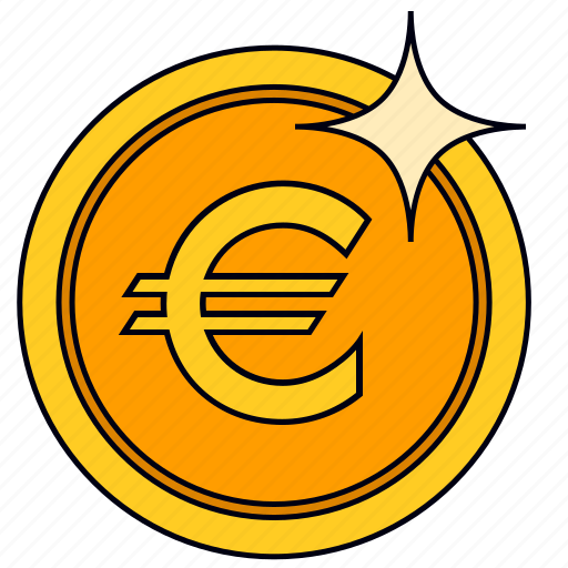 euro, gold coin, money, pound icon