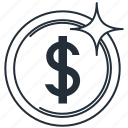 dollar, dollar coin, dollor, gold coin, money icon