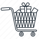 gift shopping, purchase, shopping cart, trolley, trolly icon