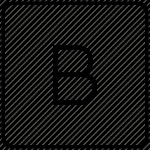 b, key, keyboard, letter icon