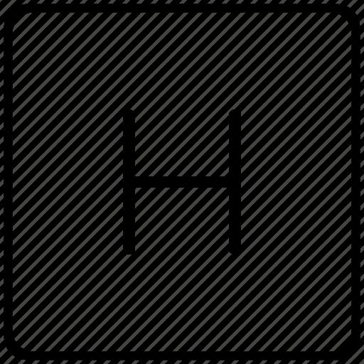 h, key, keyboard, letter icon
