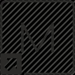 key, keyboard, letter, m, shortcut icon