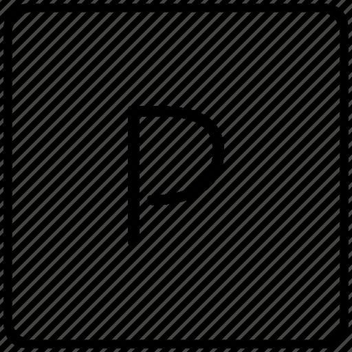 key, keyboard, letter, p icon