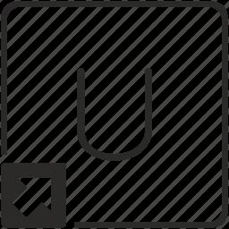 key, keyboard, letter, shortcut, u icon