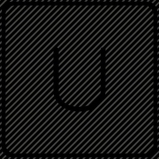 key, keyboard, letter, u icon