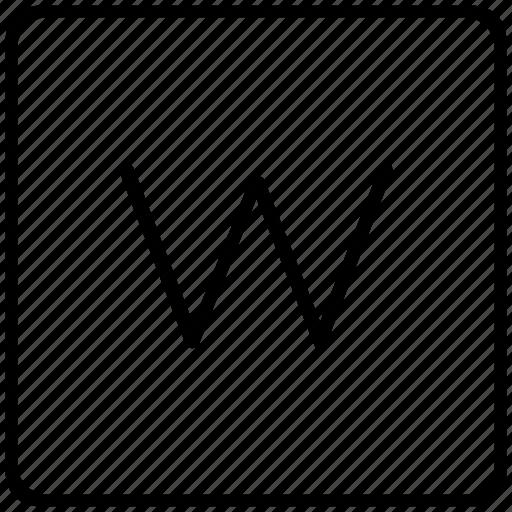 key, keyboard, letter, w icon
