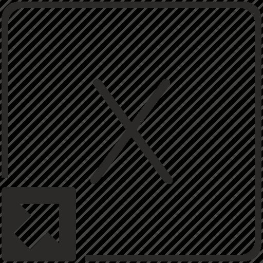 key, keyboard, letter, shortcut, x icon