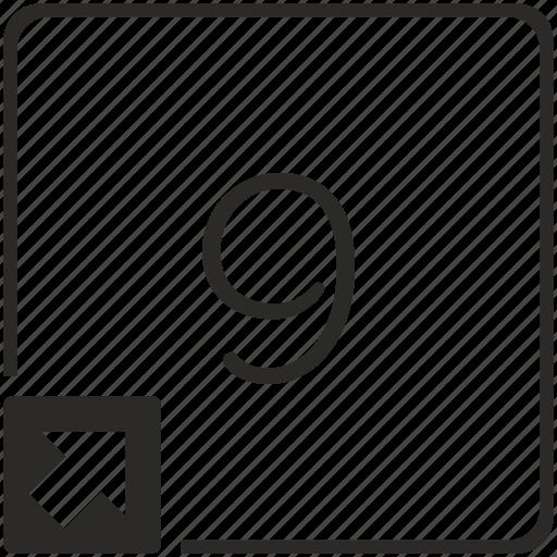 keyboard, nine, number, shortcut icon