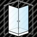 bathroom, enclosure, installation, shower, shower tray, square, thick icon