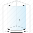 bathroom, enclosure, installation, pentagonal, shower, shower tray, thick icon