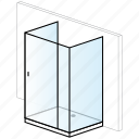 bathroom, installation, low paddling pool, rectangular, shower, shower enclosure, thin shower tray icon