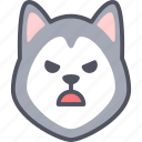 angry, dog, siberian husky, emoji, emotion, feeling, face