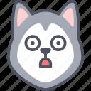 stunning, dog, siberian husky, emoji, emotion, expression, feeling