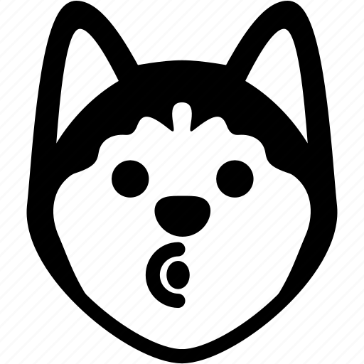 Emotion, siberian husky, face, blowing, feeling, expression, emoji icon