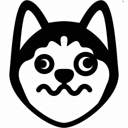 Emotion, siberian husky, face, dizzy, feeling, expression, emoji icon