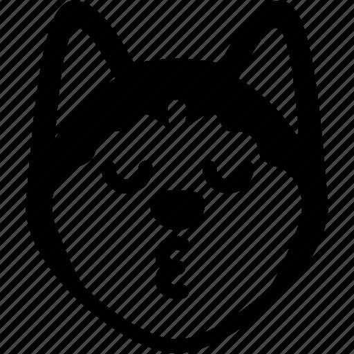 dog, emoji, emotion, expression, face, feeling, kiss icon