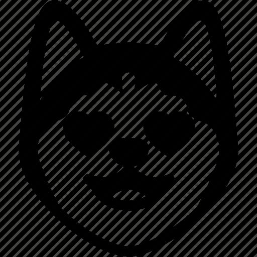 emoji, emotion, expression, face, feeling, love, siberian husky icon