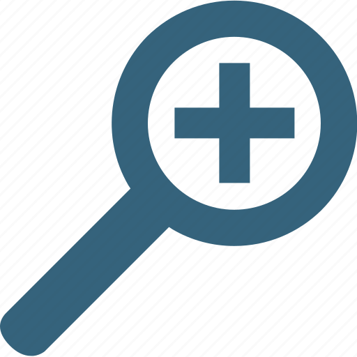 analysis, magnifying glass, plus sign, search, search tool, zoom in, zooming icon