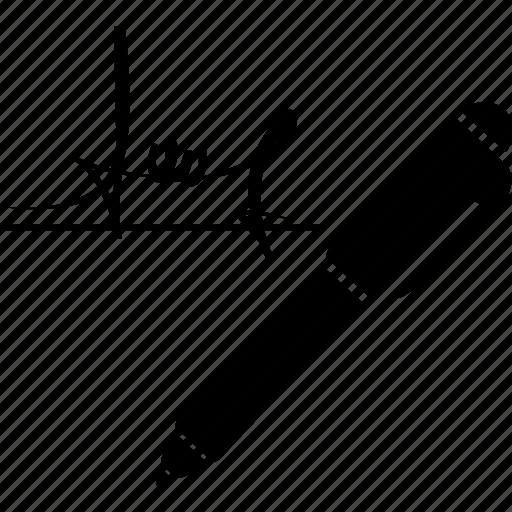 ballpoint, document, paper, pen, signature icon