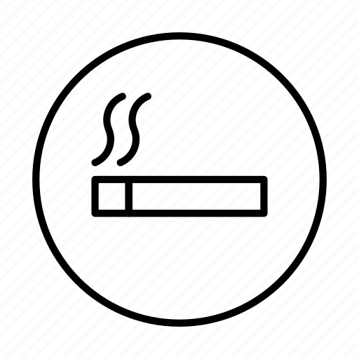 area, cigarette, circle, sign, smoking icon