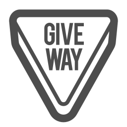 attention, give, road, sign, traffic, way icon