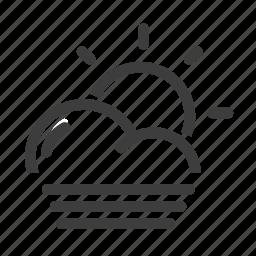 day, fog, foggy, forecast, sun, weather icon