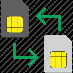 card, mobile, sim, smartphone, transfer icon