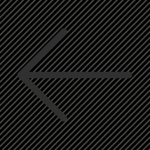 arrow, back, left, medium arrow, medium rounded line arrow, previous, return icon