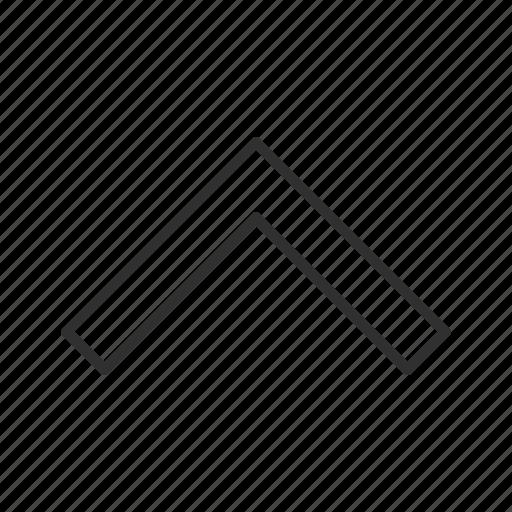 above, arrow, pointy block arrow, thin stroke, up, upload icon