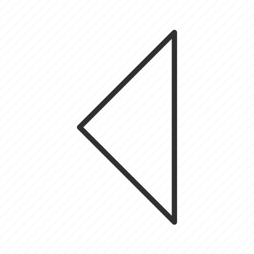 arrow, back, left, left triangle arrow, previous, return, thin stroke icon