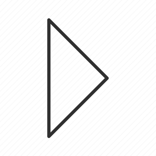 arrow, closed, continue, next, right, right triangle arrow, thin stroke icon