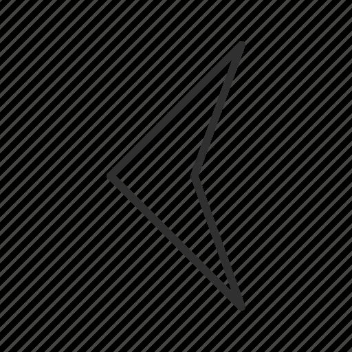 arrow, back, compass arrow, left, pointy left arrow, thin stroke, west icon