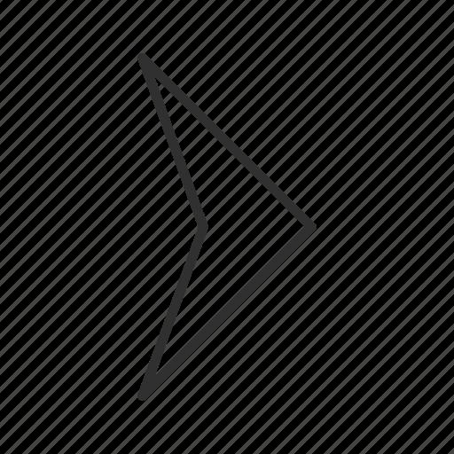 arrow, compass arrow, east, next, pointy right arrow, right, thin stroke icon