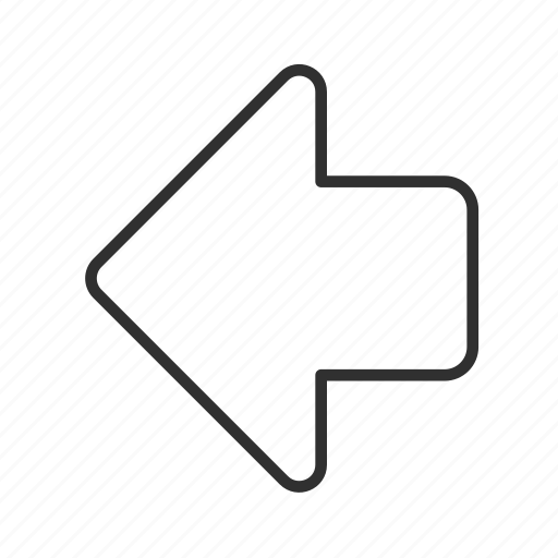 arrow, back, left, previous, return, rounded block arrow, thin stroke icon