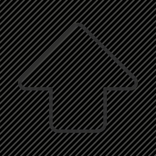 above, arrow, rounded block arrow, thin stroke, up, upload icon