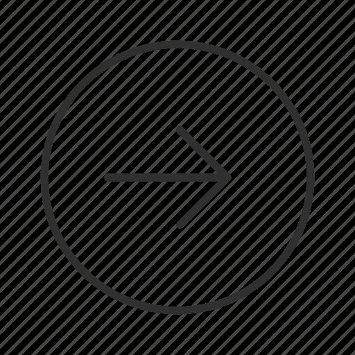 arrow, continue, next, proceed, right, right circle arrow, thin stroke icon