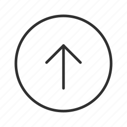 above, arrow, thin stroke, up, up circle arrow, upload icon