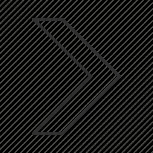 arrow, continue, direction, next, right, right v arrow, thin stroke icon