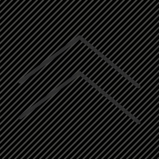 above, arrow, double up arrow, thin stroke, thin up arrow, up, upload icon