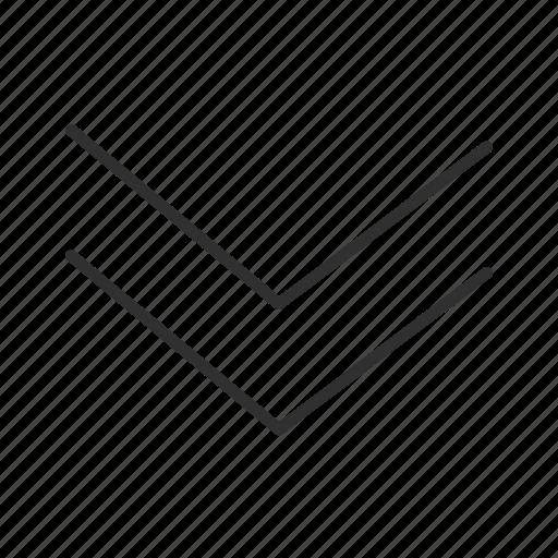 arrow, below, double down, down, download, thin double down arrow, thin stroke icon