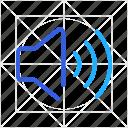 audio, media, music, social, sound, speaker, volume icon