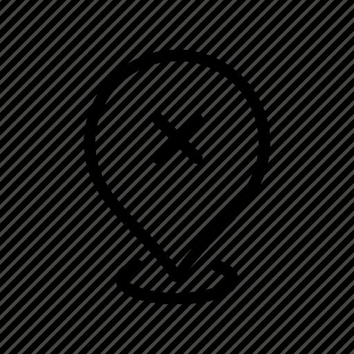 cancel, gps, location, map, pin icon