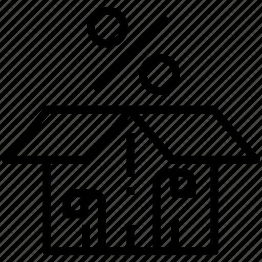 box, gift, percent, present, sale icon