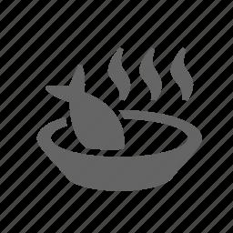 bouillon, bowl, fish, food, hot, saucer, soup icon